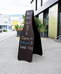 Holz Kundenstopper Prosecco, Kunndenstopper mit Kreidetafel, Kundenstopper für Bars, beschriftet mit Kreide
