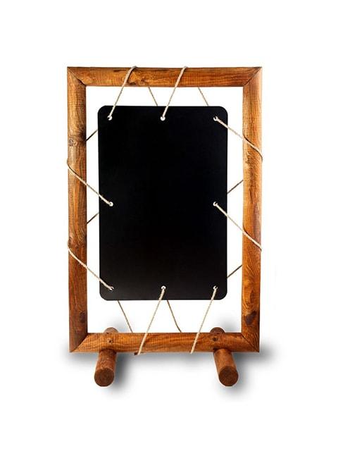 Spezieller Kundenstopper mit ausgefallenem Design, Holz Kundenstopper mit Kreidetafel Frontansicht