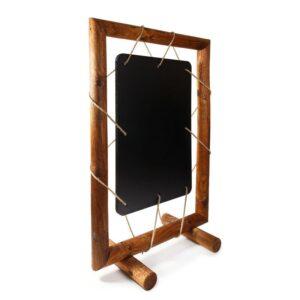 Spezieller Kundenstopper mit ausgefallenem Design, Holz Kundenstopper mit Kreidetafel Seitenansicht
