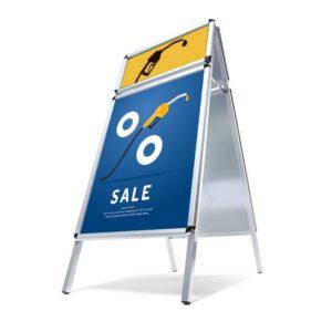 Alu Kundenstopper mit Topschild Logoschild, Plakatständer DIN A1 mit Logoschild für den Aussenbereich