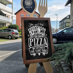 Gastro Holzaufsteller Kundenstopper mit Löffel und Gabel als Designform, Kreidetafel für Gastronomie