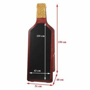 Holz Kundenstopper Prosecco Deluxe, Holzaufsteller in Flaschenform, Holzaufsteller mit Kreidetafel, Vermassung