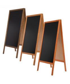 Holz Kundenstopper in verschiedenen Farben, Grösse 130x57cm, mit schwarzer Kreidetafel