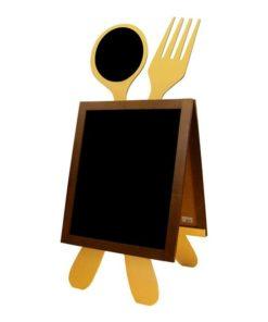 Holz Kundenstopper mit Löffel und Gabel, Gastro Werbeaufsteller, Strassenaufsteller für Gastronomie, braune Ausführung