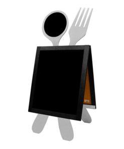Holz Kundenstopper mit Löffel und Gabel, Gastro Werbeaufsteller, Strassenaufsteller für Gastronomie, silbrige Ausführung