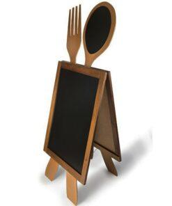 Holz Kundenstopper mit Löffel und Gabel, Werbeaufsteller für Restaurants
