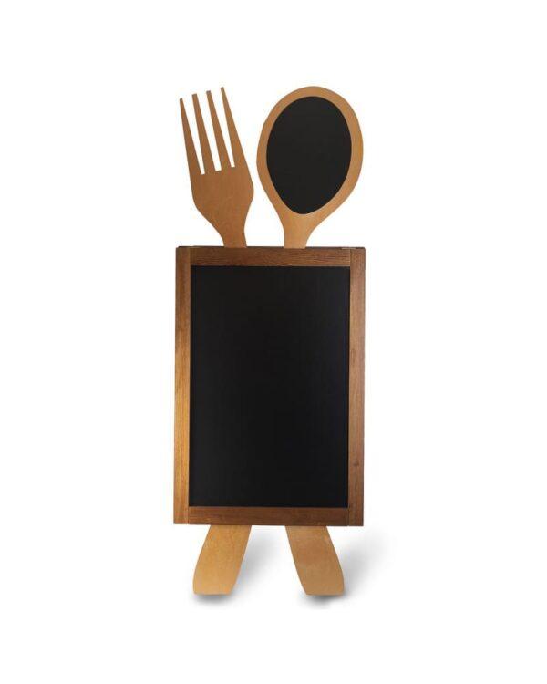 Holzaufsteller für Restaurants beschriftbar mit Kreide und Kreidemarker, mit Löffel und Gabel