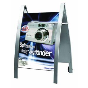 Kundenstopper Konvex DIN A1, Werbeaufsteller aus Stahl, Strassenständer Stahl, Strassenständer wetterfest, Gehwegaufsteller