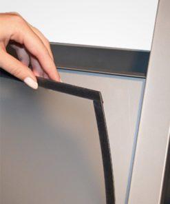 Kundenstopper Konvex DIN A1, Werbeaufsteller aus Stahl, Strassenständer Stahl, Strassenständer wetterfest, magnetische Schutzfolie