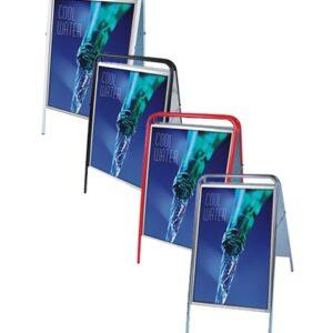 Kundenstopper Stahlrohr Basic, wasserfester Kundenstopper, silber, rot, schwarz, weiss