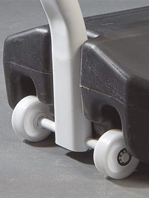 Kundenstopper Stahlrohr Swing, Kundenstopper aus Stahl, Windfester Kundenstopper, stabiler Gehwegaufsteller, Räder,