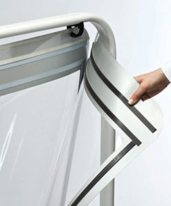 Kundenstopper Stahlrohr Swing, Kundenstopper aus Stahl, Windfester Kundenstopper, stabiler Gehwegaufsteller, magnetische Schutzfolie