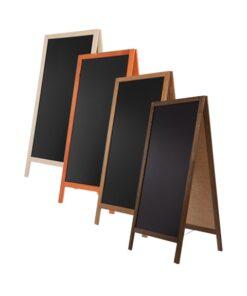Kundenstopper aus Holz in verschiedenen Farben, schwarze Kreidetafel für die Beschriftung mit Kreide oder Kreidestift