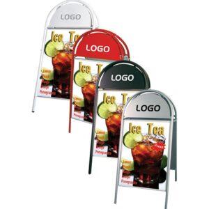Kundenstopper aus Stahl in verschiedenen Farben, massive Strasenständer für Plakatwerbung