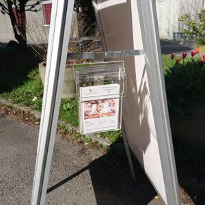 Prospektbox für Kundenstopper, Anwendungsbeispiel 1