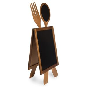 Werbatafel aus Holz mit Löffel und Gabel, beschriftbar mit Kreide und Kreidemarker, geeignet für Restaurants