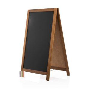 günstiger Holz Kundenstopper mit Kreidetafel in dunkelbraun für Gastronomie und Einzelhandel