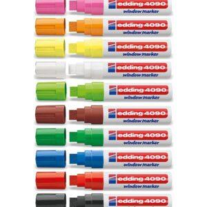 Edding Kreidemarker-Set mit 15mm Spitze, Flüssigkreidemarker, Beschriftung von Kundenstopper, alle Farben auf einem Bild