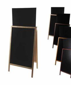 Holz Kundenstopper 158x67cm mit Zusatztafel, Aufsteller mit Kreidetafel, Holzaufsteller, Strassenaufsteller