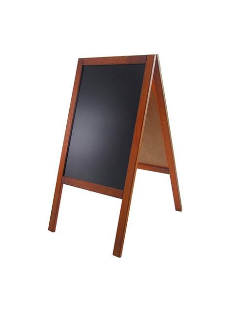 Holz Kundenstopper 89x47cm, Werbeaufsteller aus Holz, Kundenstopper mit Kreidetafel, hellbraune Ausführung, Holzaufsteller
