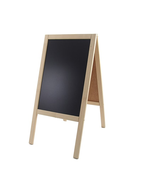 Holz Kundenstopper 89x47cm, Werbeaufsteller aus Holz, Kundenstopper mit Kreidetafel, natur Ausführung, Holzaufsteller