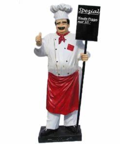 Kundenstopper Koch-Bäcker Alfredo mit Holztafel, Werbefigur Koch, Werbefigur Bäcker