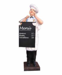 Kundenstopper Koch-Bäcker Bruno mit Holztafel, Werbefigur Koch, Werbefigur Bäcker