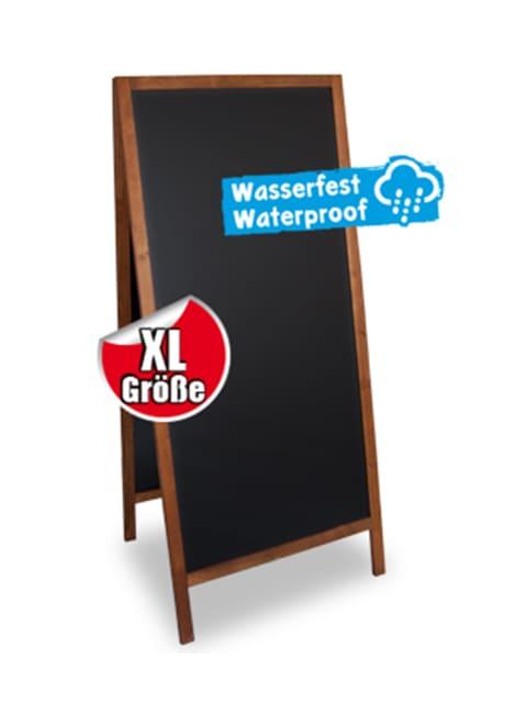 Wetterfester Holz Kundenstopper mit Kreidetafel, grosser Holzaufsteller 158x72cm für den Aussenbereich