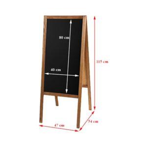 Holz Kundenstopper 115x47cm, Kundenstopper aus Holz, Holzaufsteller mit Kreidetafel, Vermassung