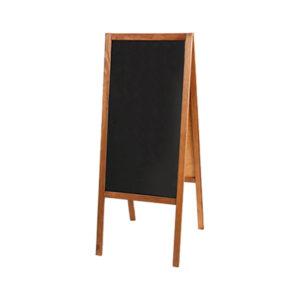 Holz Kundenstopper 115x47cm, Kundenstopper aus Holz, Holzaufsteller mit Kreidetafel, hellbraun
