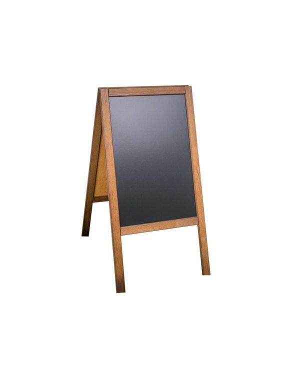 Holz Kundenstopper 89x47cm, Werbeaufsteller aus Holz, Kundenstopper mit Kreidetafel, dunkelbraune Ausführung, Holzaufsteller