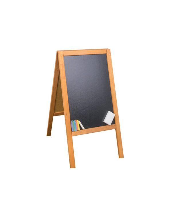 Holz-Kundenstopper-89x47cm-Werbeaufsteller-aus-Holz-Kundenstopper-mit-Kreidetafel-hellbraune-Ausführung-Holzaufsteller