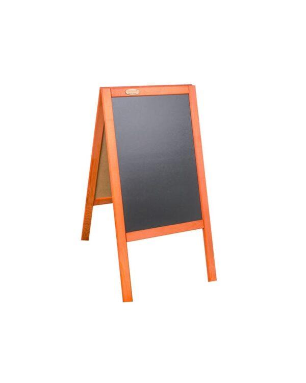 Holz Kundenstopper 89x47cm, Werbeaufsteller aus Holz, Kundenstopper mit Kreidetafel, mahagoni Ausführung, Holzaufsteller