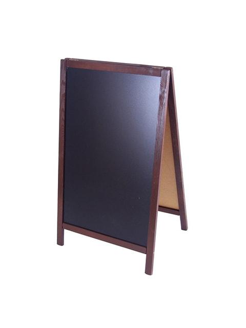 Holz Kundenstopper 93x56cm, Werbeaufsteller aus Holz, Farbe dunkelbraun