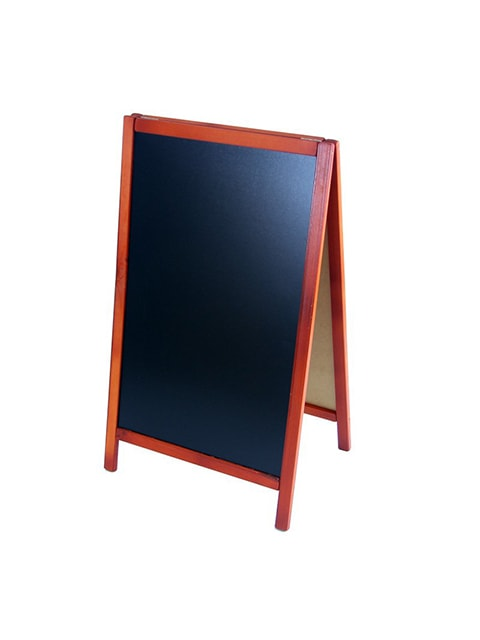 Holz Kundenstopper 93x56cm, Werbeaufsteller aus Holz, Farbe mahagoni