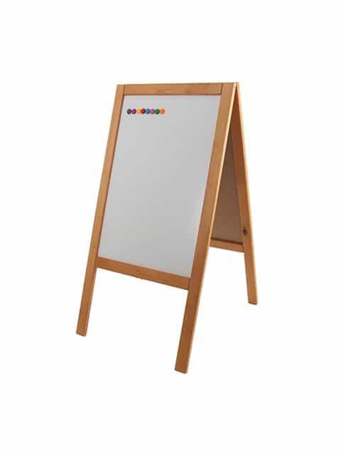 Holz Kundenstopper mit Magnetfläche 89x47cm, Holzaufsteller, Strassenaufsteller, Aufsteller aus Holz, hellbraun