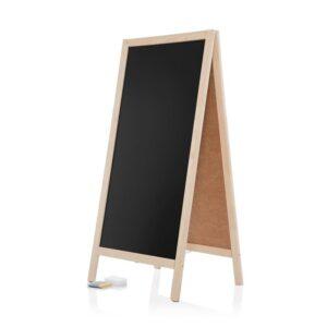 Holz Kundenstopper mit schwarzer Kreidetafel und Holzrahmen Natur Buche, Restaurant Aufsteller gross