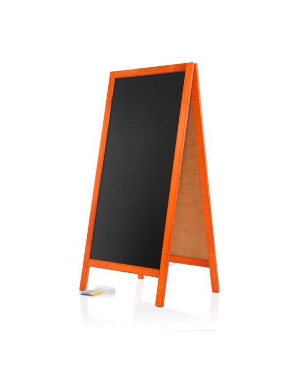 Holzaufsteller günstig mit Rahmen in der Farbe Mahagoni und schwarze Kreidetafel Grösse 120x57cm