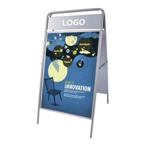 Kundenstopper Infoständer aus Stahl für den Aussenbereich für Plakatwerbung