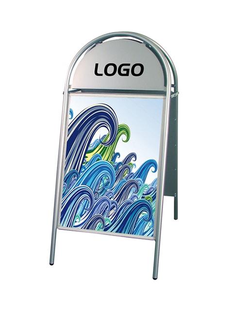 Kundenstopper Stahlrohr Basic Rondo, silbrige Ausführung, Kundenstopper Stahl