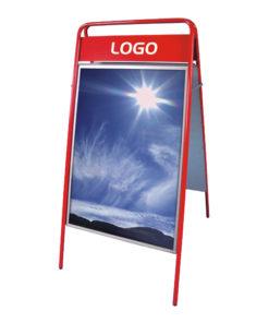 Kundenstopper Stahlrohr Basic mit Logoschild, rot