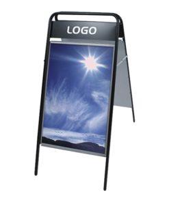 Kundenstopper Stahlrohr Basic mit Logoschild, schwarz