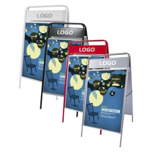 Kundenstopper Stahlrohr Basic mit Logoschild, weiss, schwarz, rot, weiss