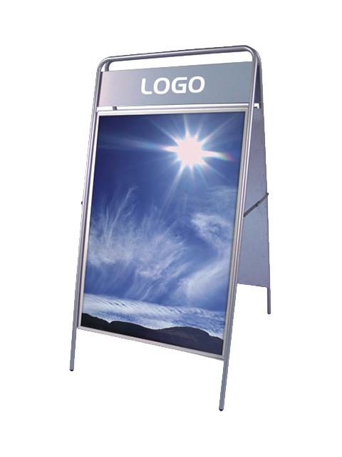 Kundenstopper Stahlrohr Basic mit Logoschilds silber