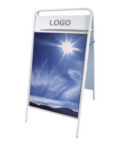 Kundenstopper Stahlrohr Basic mit Logoschilds weiss