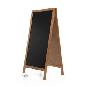 hellbrauner Holz Kundenstopper mit schwarzer Kreidetafel geeignet als Restaurant Tafel aufstellbar