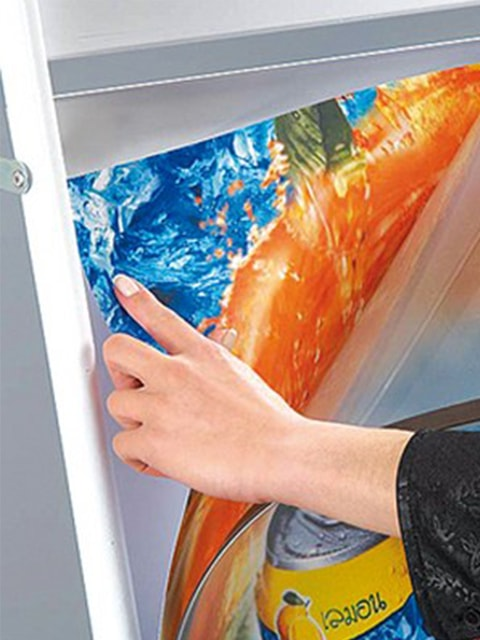 magnetische Antireflex Schutzfolie für Kundenstopper aus Stahl