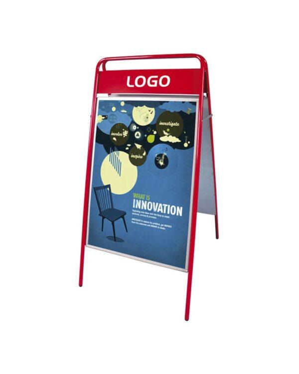 wetterfester Stahl Kundenstopper für den Aussenbereich in rot, roter Werbeaufsteller Infoständer in rot