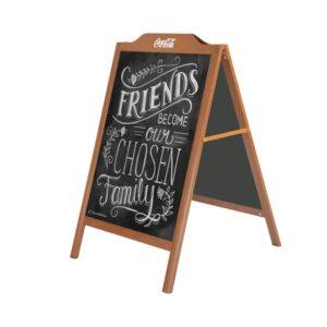 Alu Kundenstopper mit Holzoptik und beschriftbarer Kreidetafel, Holz Look Kundenstopper aus Alu mit Kreidetafel