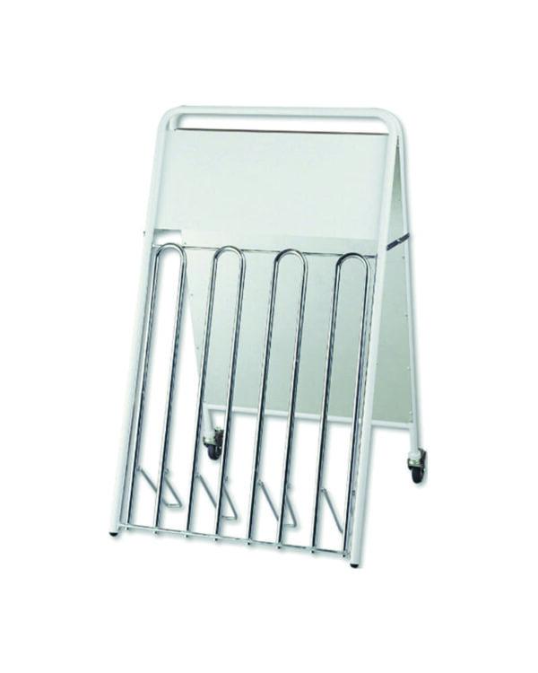 Fahrradständer mit DIN A1 Plakat und Rollen, Kombi Fahrratständer und Plakatständer DIN A1 Stahl in weiss